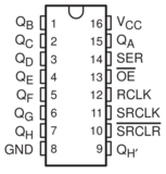 74HC595 8 bit shift register